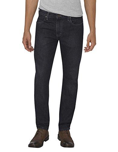 Dickies Herren-5 Pocket-Slim Fit Jeans in Karottenform, 38W x 30L, Rinsed Black Stretch Denim