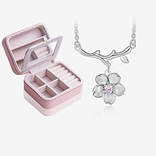 NYKK Necklace Cherry Blossom Necklace Wild Silver Necklace Japan and South Korea Clavicle Chain Necklace Female Jewelry 925 Silver Simple Pendant (Color : D)