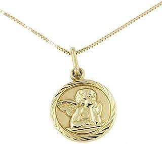 forme di Lucchetta per Donna - Ciondolo in Oro Giallo 9k con Angelo di Raffaello su Medaglia pendente con Collana lunga 42...
