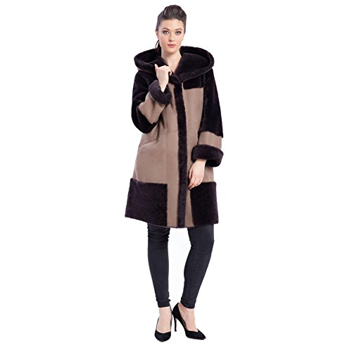 Denny&Dora Women Hooded Non-Detachable Long Coat Winter Sheepskin Shearling Jacket for Women Stitching (Brown, L)