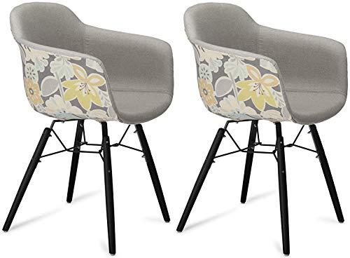 Furnhouse Furniture Sillas de Comedor, Beech, Gris, Amarillo y Negro, 59x57x80, 2 Unidades