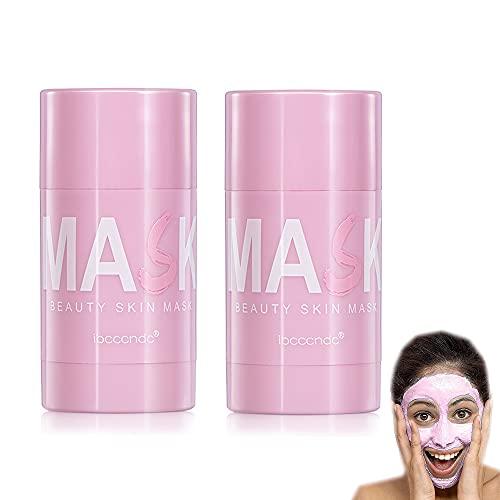 Mascarilla en Barra de Arcilla purificadora de Flor de Rosa, Control de Aceite hidratante Facial, Limpieza Profunda de poros, para Todo Tipo de Pieles (2 PC)