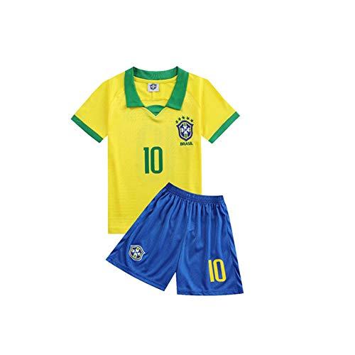 LCHENX-Neymar Da Silva Santos Júnior 10# Equipo Nacional de Fútbol de Brasil Inicio Ropa de Fútbol Traje Camiseta Y Pantalón Corto de Deporte para Aficionados,Amarillo,28