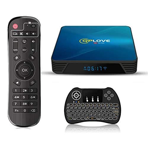 Android 10.0 TV Box, QPLOVE Q8 Android TV Box【4GB 128GB】 RK3318 Quad Core 64Bits 2.4G/5G WiFi BT 4.0 3D 4K Smart TV Box con Mini Wireless Backlight Keyboard