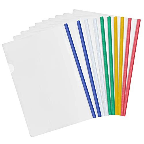 10 Piezas Transparente A4 Cubiertas para informes con Barra Deslizante, Carpetas Dossier de Presentación, Plástico Carpeta de Archivos para Casa Oficina Escuela Documentos Organizador (5 Colores)