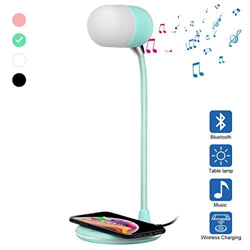 Orimi Tres en uno Cargador por inducción Altavoz Bluetooth Lámpara de Mesa (Verde Claro)