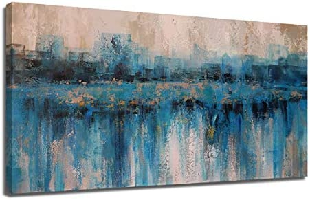 Canvas Wall Art Abstract Large Size Modern Blue Grey Themes Cityscape Textured Painting One product image