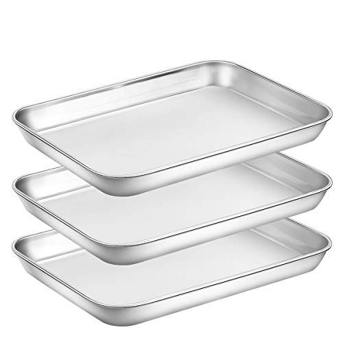 Baking Sheet Pan for Toaster Oven, Stainless Steel Baking Pans Small Metal Cookie Sheets by Umite Chef, Superior Mirror Finish Easy Clean, Dishwasher Safe, 9 x 7 x 1 inch, 3 Piece/set