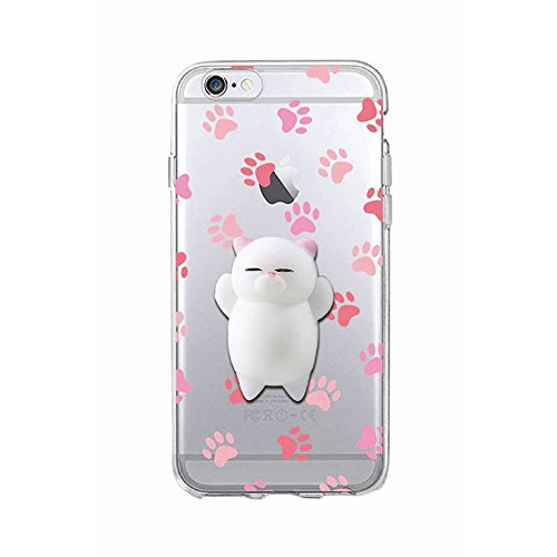 Cover iPhone 5, Squishy 3D Animal Animale Cat Gatto iPhone 5s Case, Cute Stress Silicone Fun kawaii Case Cover Custodia for iPhone 5s / iPhone 5 /SE (Color-D)