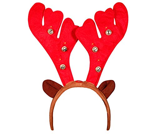 Alsino Serre-Tête Lumineux en Forme de Bois de Cerf avec LED (wm-20) avec Oreilles et Clochettes Noël pour Adultes Unique Accessoire Fête Homme et Femme