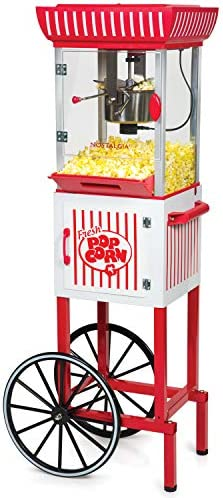Nostalgia PC25RW 2 5 oz Popcorn Concession Cart 48 Tall Makes 10 Cups with Kernel Oil Measuring product image