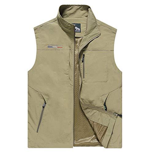 Men's Safari Outdoor Vest Windproof Sleeveless Jacket Waterproof Hunting Travel Sports Vest with Inside Pockets Khaki 6X-Large