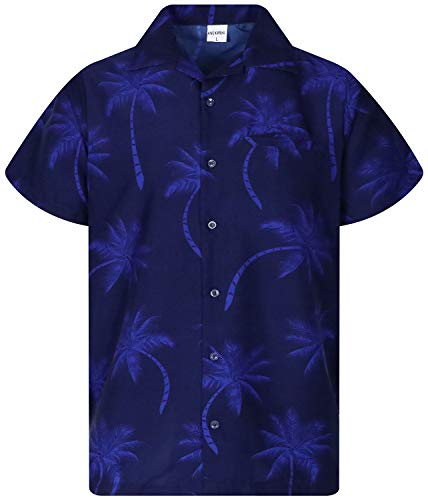 King Kameha Funky Hawaiihemd, Kurzarm, Palmshadow New, Navyblau, XL