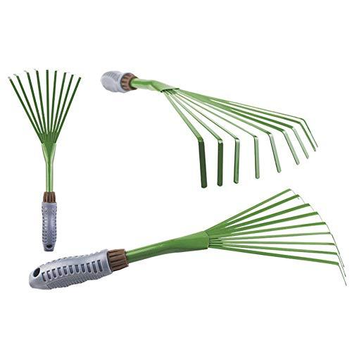 Somedays Kleiner Garten-Handrechen, Kunststoff-9-Zahn-Blattbesen Eisenteile Gartenrechen-Werkzeug, Leichter TPR-Ergonomischer Griff Rutschfester Griff, Flexible Zinken
