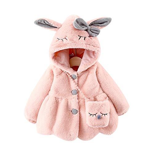HEWYHAT Chaquetas de lana con capucha de orejas de conejo, para invierno, para bebés de 0 a 4 años, color rosa, 100 cm