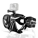 Snorkel Mask Frameless Diving Mask with Mount for Gopro, Anti-Fog Tempered Lens Glasses Goggles Dive Swim Mask Snorkeling Gear Set for Scuba Diving Snorkeling Freediving Swimming for Adults (Black)