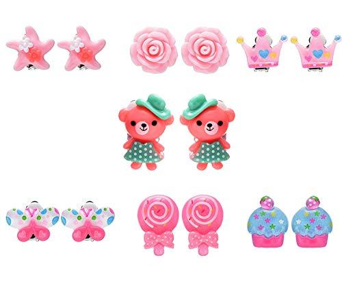 7 Paar Blumen Kirsch Schmetterling Bär Clip auf Ohrringe Set für Kinder Mädchen