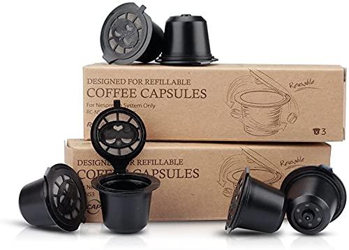 RECAPS Capsules rechargeables sans BPA, réutilisables, 200 fois, compatibles avec Nespresso Original Line (6 dosettes par lot, brosse et cuillère)