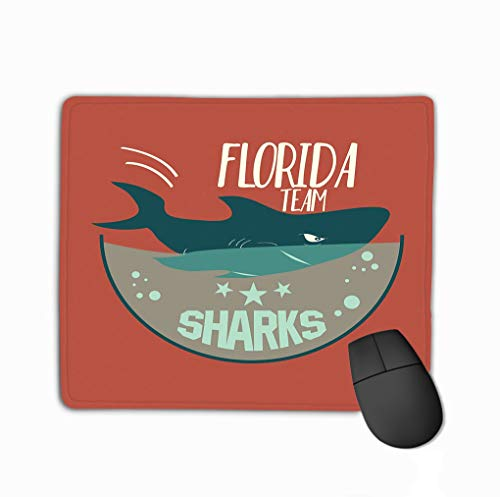 Mouse Pad Shark Emblem Hoodie Athletics Typography Swimming Aquarium Sport wear Print Rectangle Rubber Mousepad 11.81 X 9.84 Inch