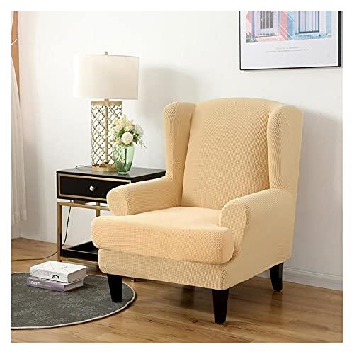 CHENGTAO Stuhlabdeckung Jacquard Spandex Stretchbutschatten Für Bürostühle 2 Stück Set Mit Elastischem Band (Color : Bisque, Specification : Wing Chair Cover)