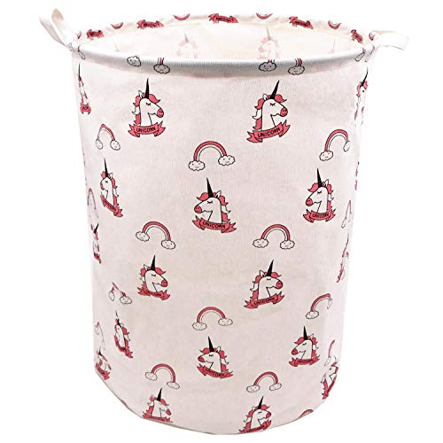 Pink Rainbow Unicorn Laundry Hamper For Girls 19.7 x 15.7 Inch, ZUEXT Extra Large Canvas Fabric Collapsible Storage Basket, Waterproof Clothes Bin, Toy Bins, Gift Baskets for Bedroom,Baby Nursery,Kids