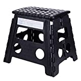 KLFALL Folding Step Stool 13 inch Height Heavy Duty Foldable Stool for Kids & Adults, Kitchen Garden Bathroom Stepping Stool (13inch Black)