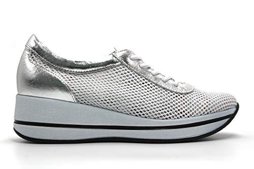 PITILLOS - Zapatos Sneakers de Piel con cordón elástico, de cuña, Suela Blanca de Goma, Rejilla, Calado, para: Mujer Color: Plata Talla:37