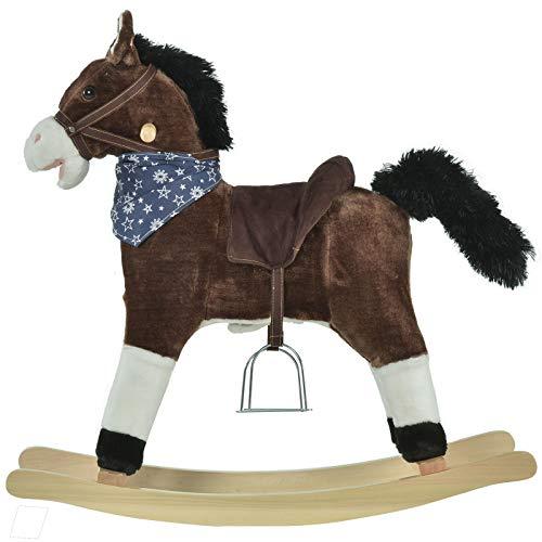 New Unique Chic c Indoor Children Rocker Animal Horse Kids Chair Toy for Children 3-8 Years, Brown Accent Durable