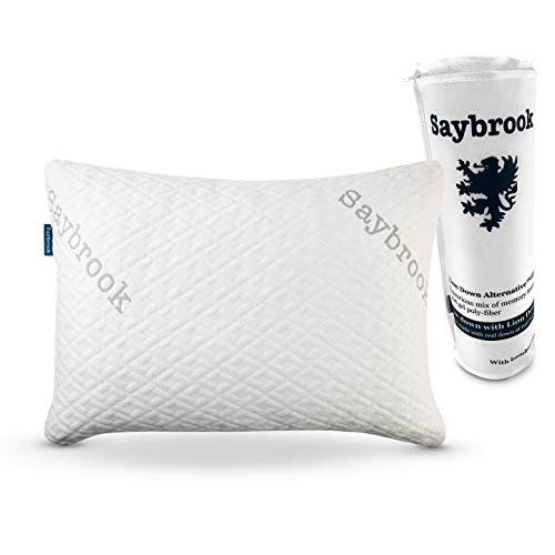 Saybrook Premium Adjustable Loft Pillow - Hypoallergenic Machine-Washable Bamboo Cover - Lion Down Alternative Filling Made with Shredded Memory Foam and Microfiber Infused with Gel Beads - Standard
