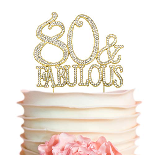 80 & Fabulous GOLD Cake Topper | Premium Sparkly Bling Rhinestone Crystal Diamond Gems | 80th Birthday Decoration Ideas | Perfect Keepsake (80&Fab Gold)