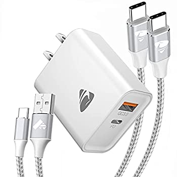 USB Wall Charger 20W USB C Fast Charger Block Plug + Dual Port Power Delivery with 2Pack 6ft Type C Charging Cable Cord for Samsung Galaxy S21/S21 Ultra/S20/S10/S9/S8 Plus/Note 20/Note 10 and More