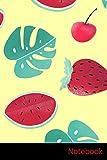 Notebook: Melon D'Eau, Feuilles, Fraise, Crème Glacée Carnet / Journal / Livre d'écriture / Calepin / Agenda / Notes - 6 x 9 pouces (15,24 x 22,86 cm), 150 pages, surface brillante.