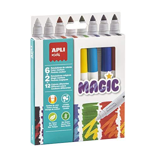 Apli kids 16808-8 feutres Magic - 6 couleurs + 2 magique