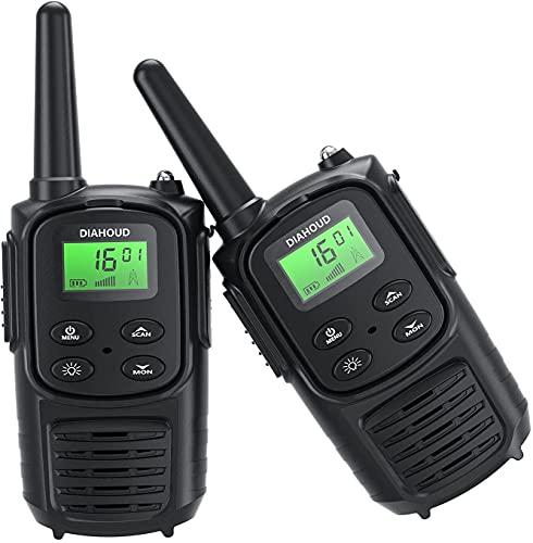 Walkie Talkie für Erwachsene, Handheld PMR 446 Walky Talky Outdoor VOX Funkgeräte Set, 8 Kanäle Two Way Radio mit LED Taschenlampe für Camping, Reisen, Outdoor-Abenteuer (2PC-Black)