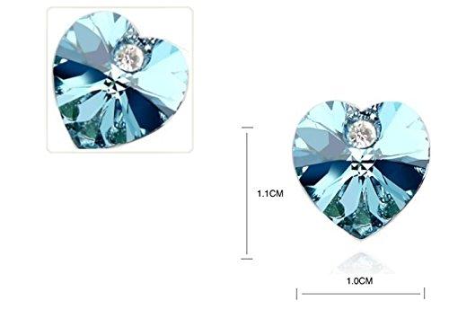 Cristalli Swarovski blu acquamarina colore cuori di orecchini in oro bianco 18kt placcato per donne e ragazze