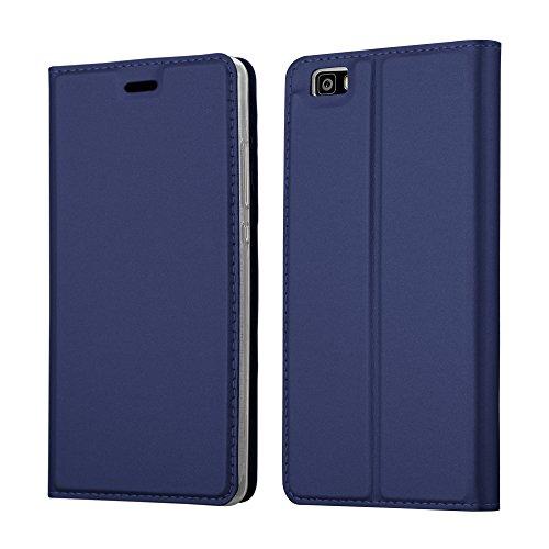 Cadorabo Funda Libro para Huawei P8 Lite en Classy Azul Oscuro - Cubierta Proteccíon con Cierre Magnético, Tarjetero y Función de Suporte - Etui Case Cover Carcasa