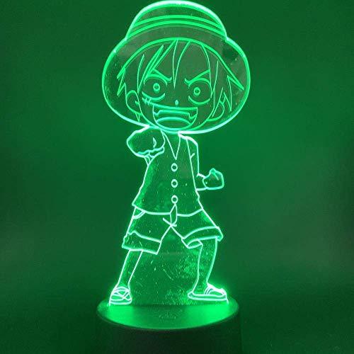 Lámpara de ilusión 3D Luz de noche LED One Piece Monkey D Luffy Sombrero de paja Piratas Crew El anime japonés El mejor regalo para niños Multicolor