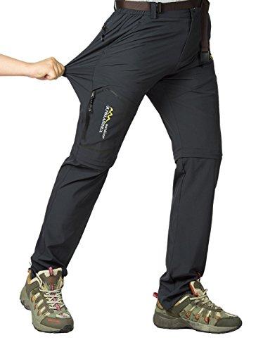 Leezepro Outdoor Hose Herren Zwei Teile zerlegbar Leicht mit Gürtel Sonnenschutz Schnell Trocknende Wanderhose Funktionshose, Grau, EU S (Etikettgröße: 2XL)