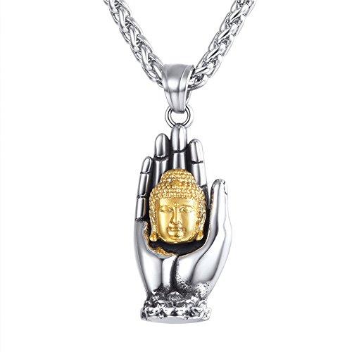 U7 Edelstahl Buddha in der Hand Anhänger Buddhismus Amulett Schmuck für Männer Frauen Gold-Silber zweifarbig