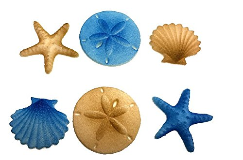 12pk Beach Comber Side Sand Water Sea Creatures Sea Shells Star Fish (Blue) Ready To Use Cake Cupcake Sugar Decoration Toppers