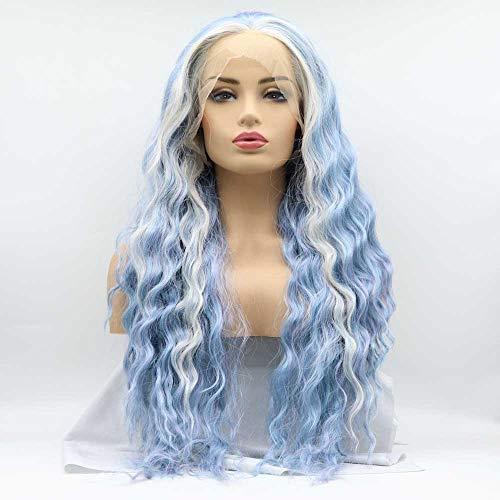 Xiweiya Pruiken Kanekalon Fiber Haar Mixe Blauw/Blonde Kleur Pruiken Lange Losse Golf Synthetische Kant Voor Vrouwen Haar Hittebestendige Fiber Lange Golvende Pruiken