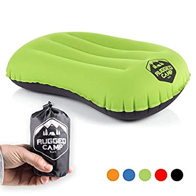 Rugged Camp Camping Pillow - Inflatable Travel Pillows - Multiple Colors - Compressible, Lightweight, Ergonomic Head Neck Support Camping Plane Travel - Lumbar Back Support (Green/Black)