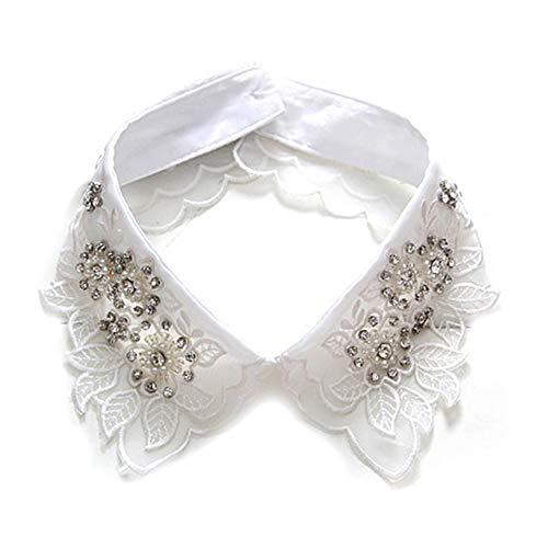 DFYYQ Negro Blanco Mujeres Desmontable Collares de Perlas de Cristal de Corea Camisa Desmontable Collar Falso Camisas suéter de Cuello Falso (Color : White)