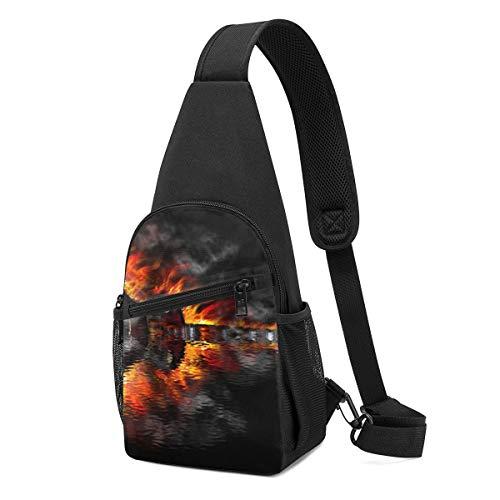 Sunny R Herren Brustpackung Brennende Gitarre Leichte Umhängetasche mit Verstellbarem Schultergurt zum Einkaufen Wandern Im Freien