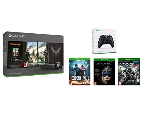 professionnel comparateur Xbox One X The Division 2 + 2e manette Xbox Black + Resident Evil 2 + HellBlade Senuas… choix