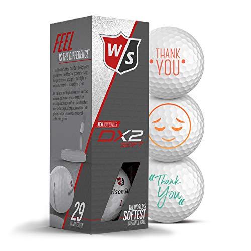 Wilson Staff Golfbälle 3er Pack Danke/Thank You Motiv Golf Geschenke Dankeschön für Golfer Geschenkidee (DX2 Soft)
