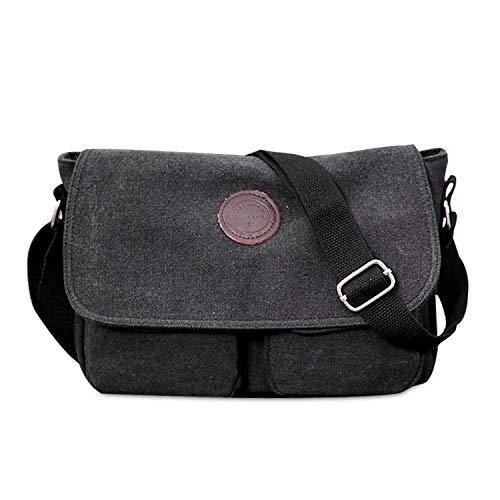 FANDARE Bolsa de Mensajero Bolso de Lona Bolsos Bandolera Unisex Adulto Bolsos Maletín Messenger Bag para el Trabajo la Escuela 7.9 Pulgadas Bolsa de iPad Negro