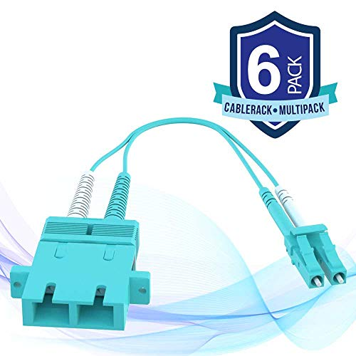 CableRack SC Female to LC Male 40GB 50/125 OM4 Multimode Duplex Hybrid Adapter Converter Dongle (6-Pack)