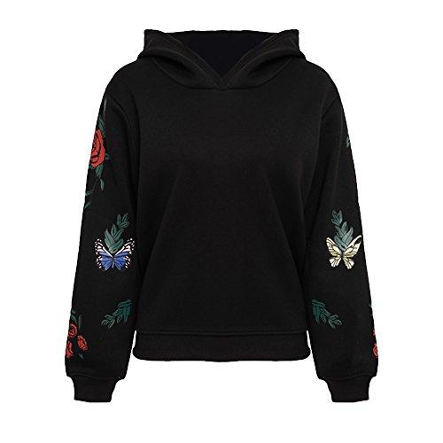 Vertvie Damen Langarm Kapuzenpullover Frauen Hoodies Sweatshirt Pullover Tops Bluse mit Schmetterling Druck(Schwarz, 2XL)