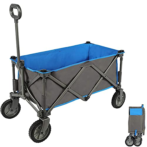 PORTAL Folding Outdoor Utility Trolley Wagon Collapsible Festival Garden Camping Cart Heavy Duty Portable Hand Transport Trailer with Removable Fabric Supports max 100kg